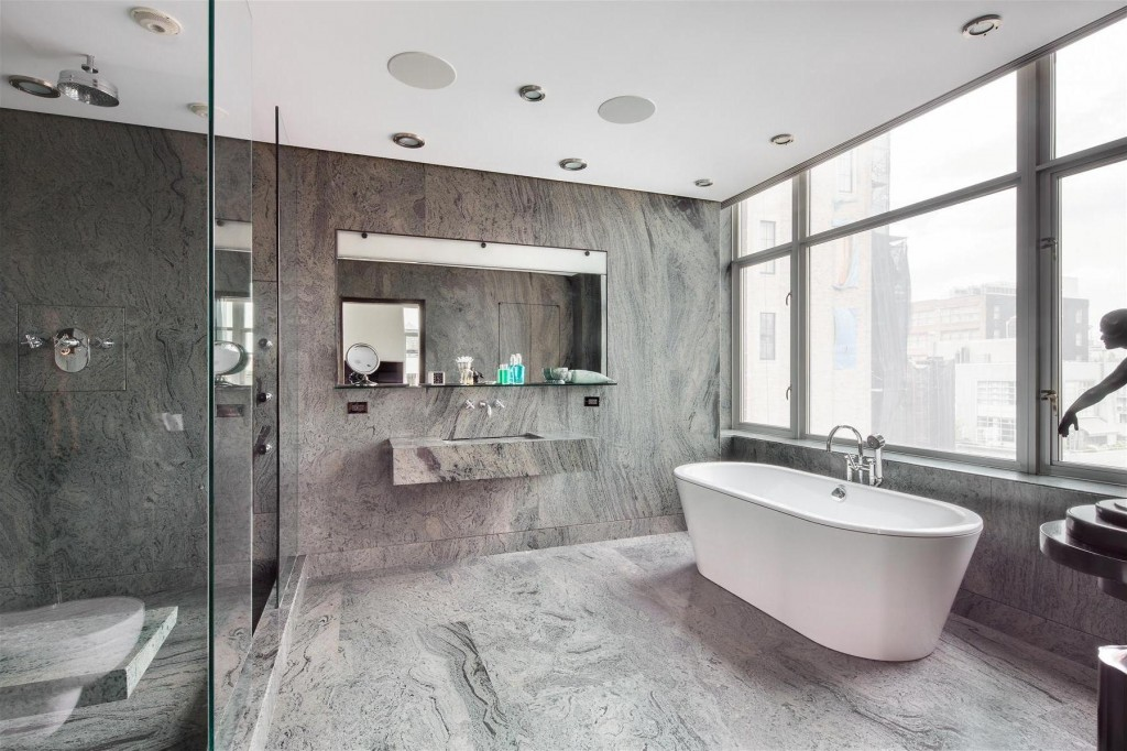 terrific-minimalist-gray-bathrooms-design-with-corner-shower-room-with-white-bathtub-and-gray-wall-and-glass-windows-and-gray-floor-as-well-glass-bathroom-ideas-interior-picture-modern-concrete-tile