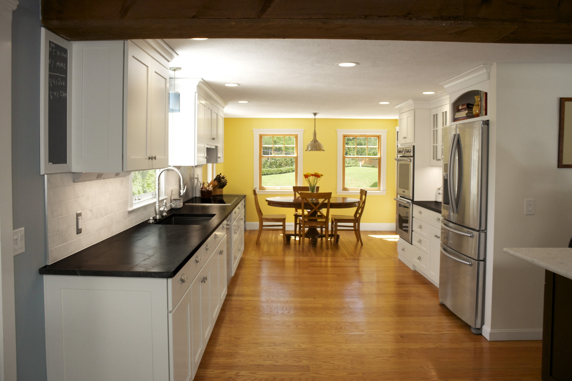 Desk-And-Table-Wonderful-White-Open-Floor-Kitchen-And-Yellow-