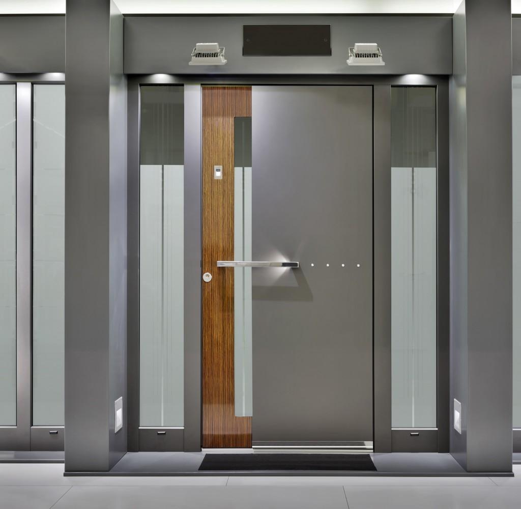 Modern Gray Exterior With Steel Beams: Exterior-furniture-modern-main-door-design-with-gray