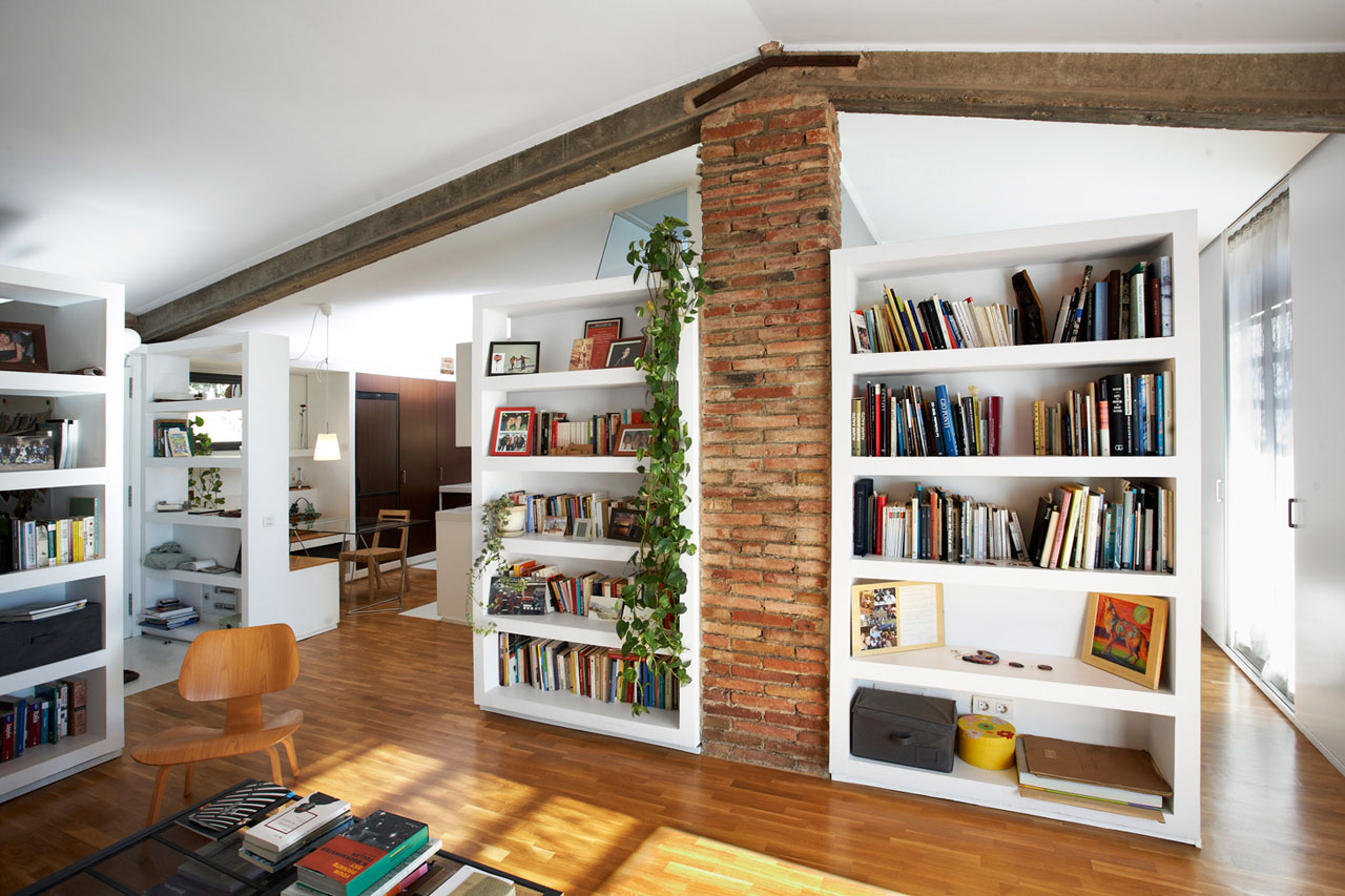 awesome-home-interior-design-styles-white-lacquered-wooden-wall-standing-bookshelf-library-natural-finished-wooden-chair-black-iron-table-with-glass-on-top-raw-brick-divider-white-pendant-lamp-style-w