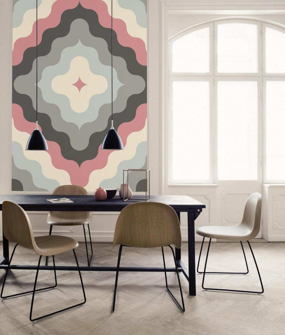 Awesome-pastel-colors-on-wall-decal-in-a-bright-dining-corner-with-a-long-black-table-and-modern-seats-also-black-pendant-lamps-and-a-big-arched-window-design