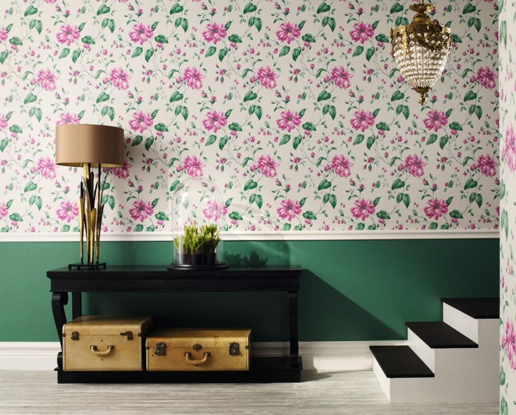 bautiful-floral-wallpaper-wall-design-beside-table-lamp-and-plant-on-the-table-near-stairs-under-pedant-lamp