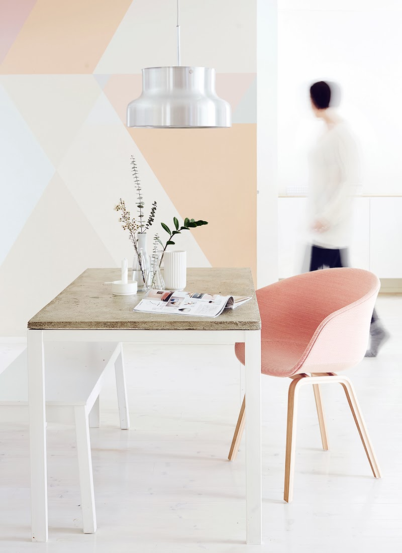 lovely-small-dining-room-design-with-rustic-wood-dining-table-feat-pastel-color-for-dining-chairs-and-chrome-classic-dining-lamp