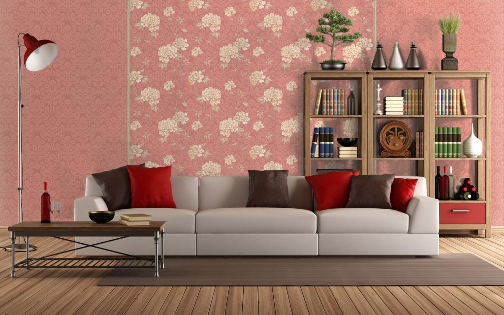 pretty-floral-wallpaper-wall-ideas-plus-bookcase-and-geay-cushions-plus-floor-lamp-and-short-table-then-wooden-floor