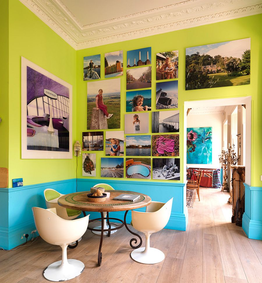 Turquoise-and-lime-green-dining-room-with-a-brilliant-gallery-wall