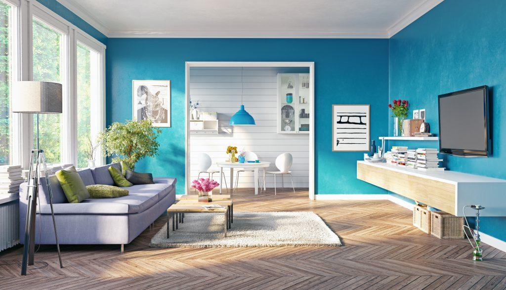 modern living room interior design. 3D rendering concept